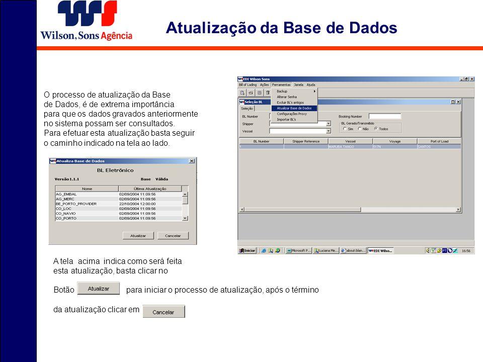 Atualização da Base de Dados