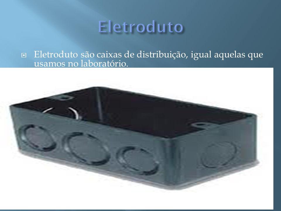 Eletroduto Eletroduto são caixas de distribuição, igual aquelas que usamos no laboratório.