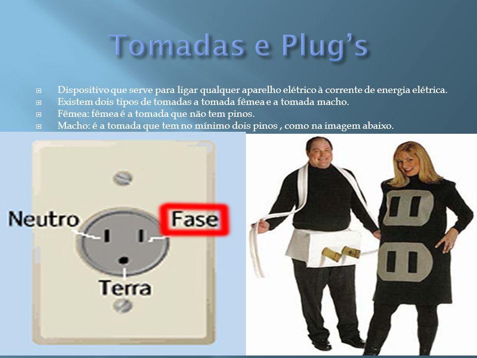 Tomadas e Plug's Dispositivo que serve para ligar qualquer aparelho elétrico à corrente de energia elétrica.