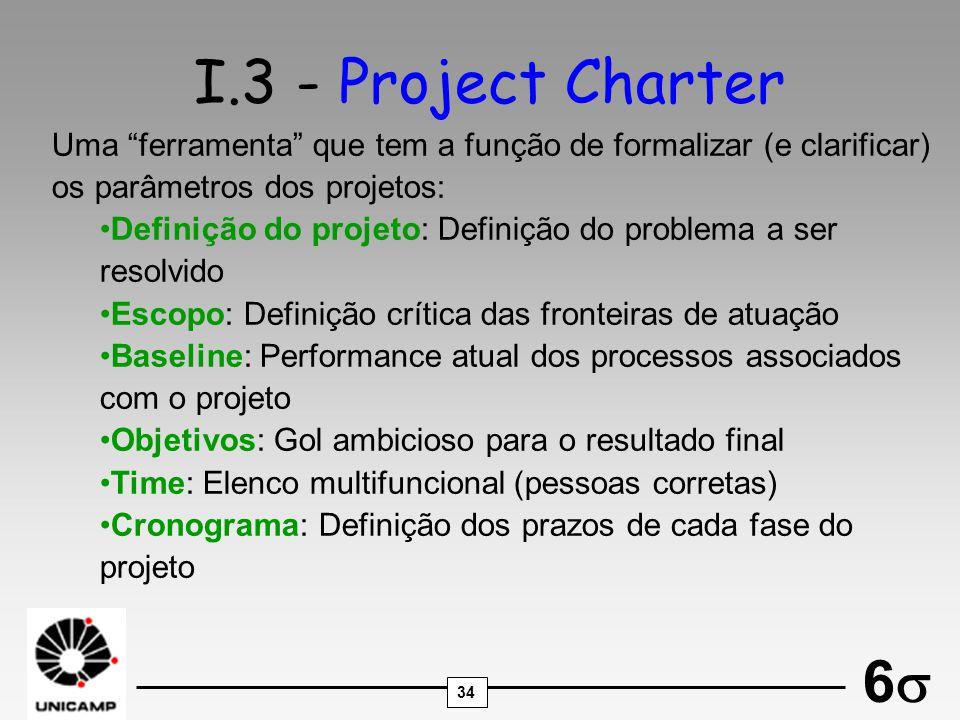 I.3 - Project Charter Uma ferramenta que tem a função de formalizar (e clarificar) os parâmetros dos projetos: