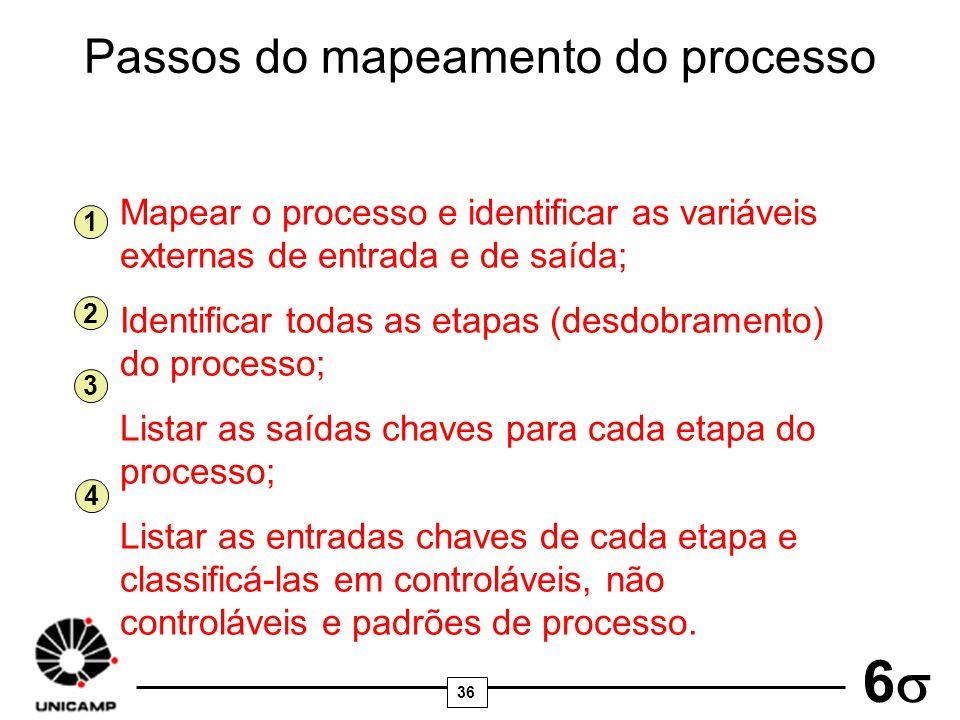 Passos do mapeamento do processo