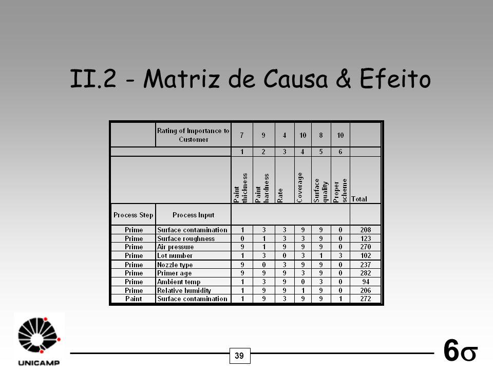 II.2 - Matriz de Causa & Efeito