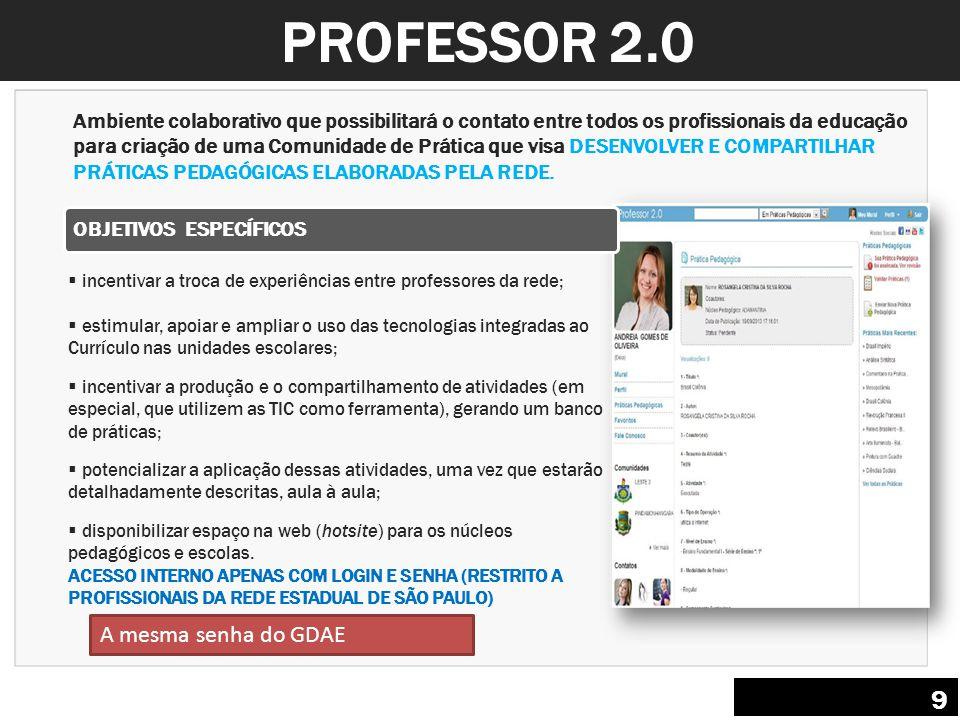 PROFESSOR 2.0 9 A mesma senha do GDAE