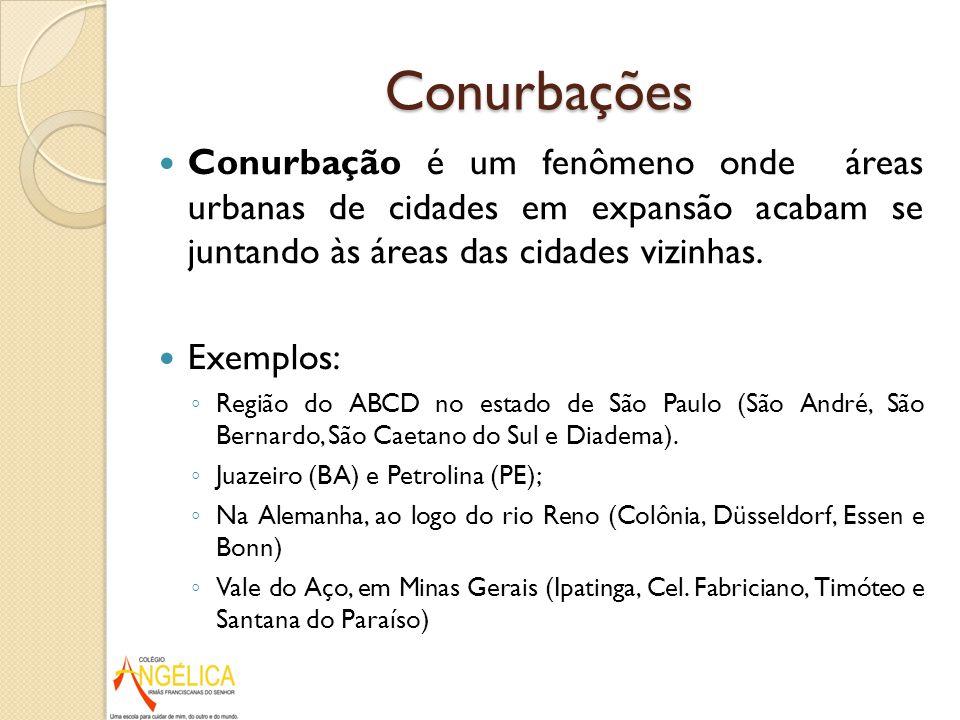 Conurbações Conurbação é um fenômeno onde áreas urbanas de cidades em expansão acabam se juntando às áreas das cidades vizinhas.