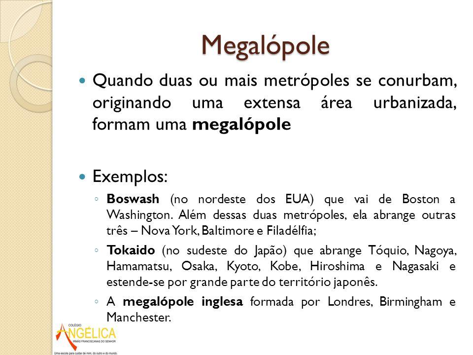 Megalópole Quando duas ou mais metrópoles se conurbam, originando uma extensa área urbanizada, formam uma megalópole.