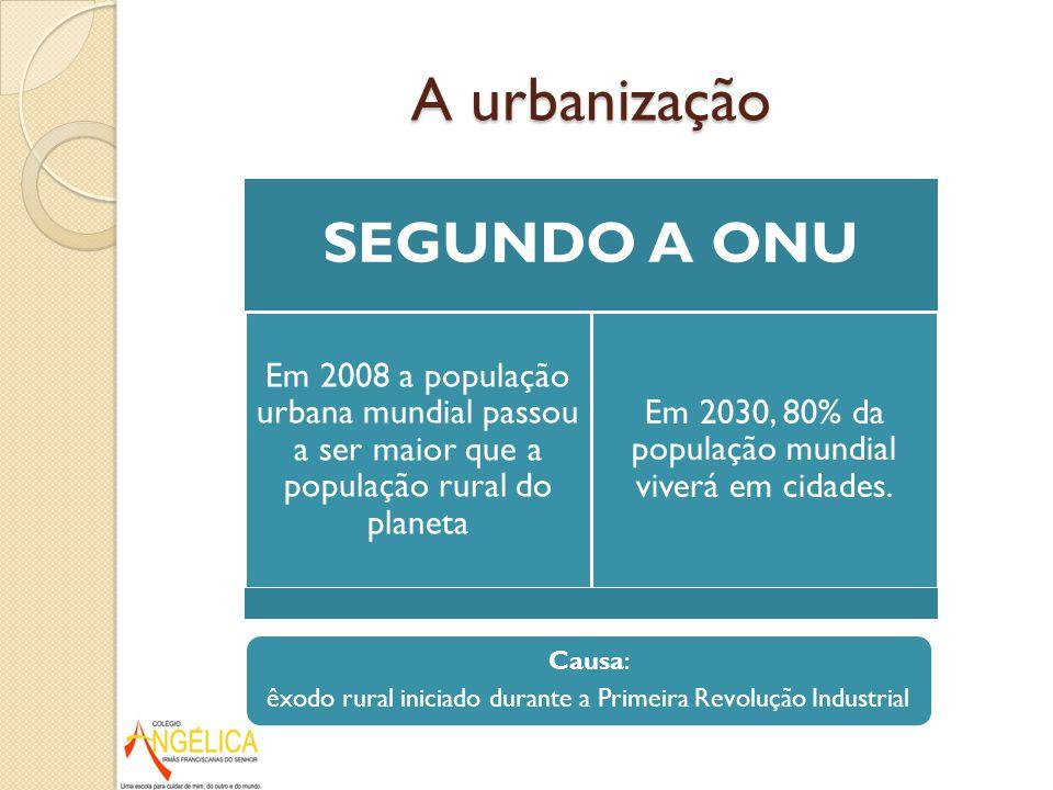 A urbanização SEGUNDO A ONU