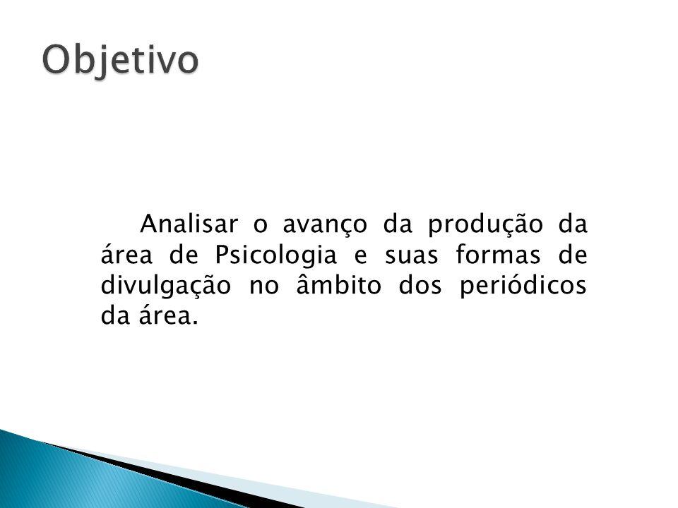 Objetivo Analisar o avanço da produção da área de Psicologia e suas formas de divulgação no âmbito dos periódicos da área.