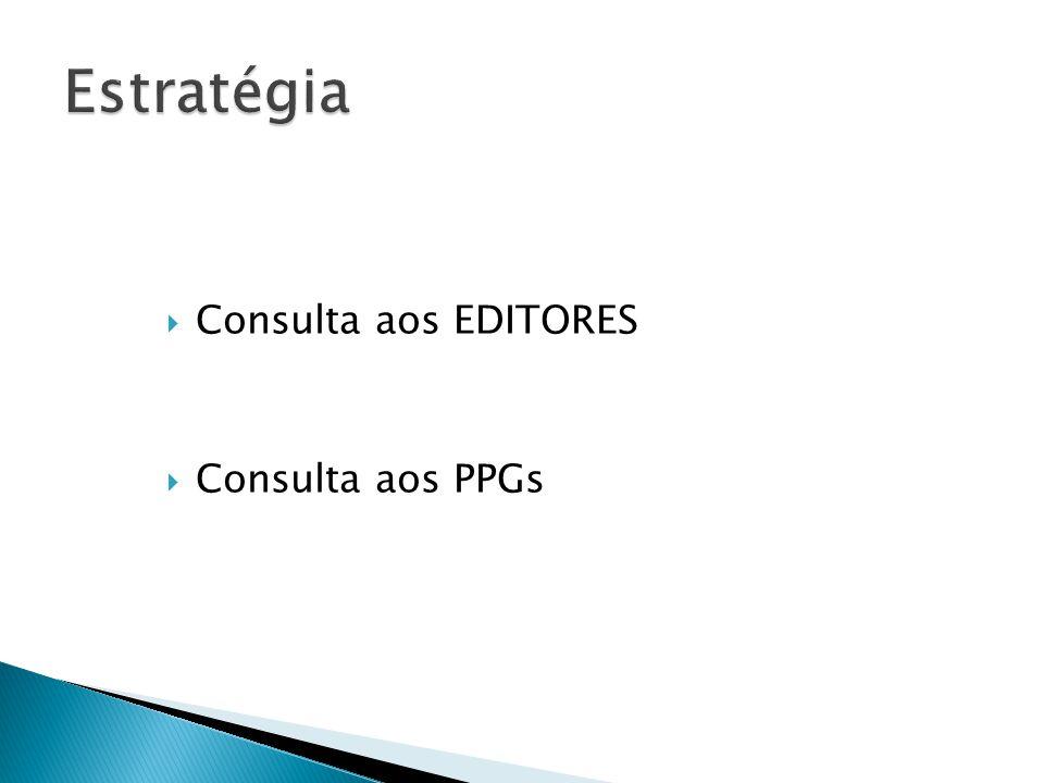 Estratégia Consulta aos EDITORES Consulta aos PPGs