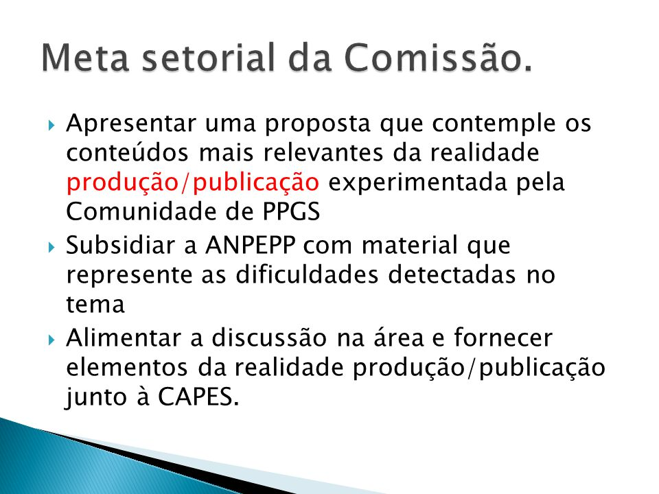 Meta setorial da Comissão.