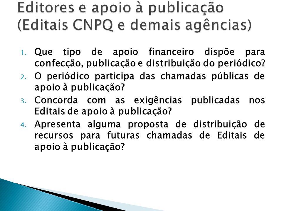 Editores e apoio à publicação (Editais CNPQ e demais agências)