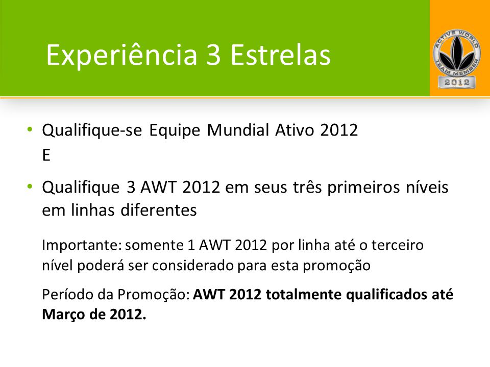 Experiência 3 Estrelas Qualifique-se Equipe Mundial Ativo 2012 E