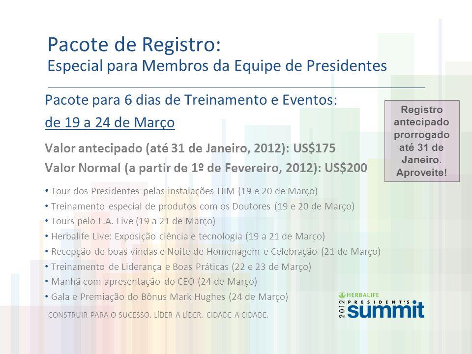 Pacote de Registro: Especial para Membros da Equipe de Presidentes