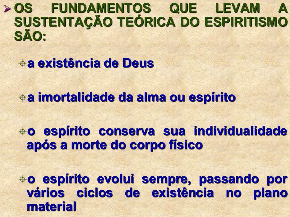 OS FUNDAMENTOS QUE LEVAM A SUSTENTAÇÃO TEÓRICA DO ESPIRITISMO SÃO: