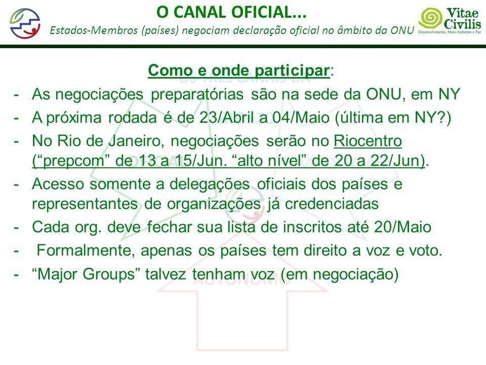 O CANAL OFICIAL... Como e onde participar: