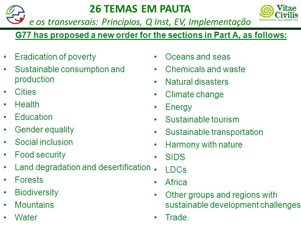 G77 has proposed a new order for the sections in Part A, as follows:
