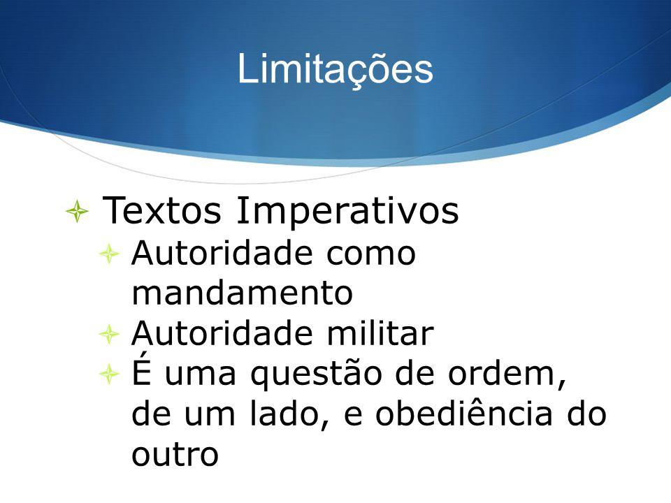 Limitações Textos Imperativos Autoridade como mandamento