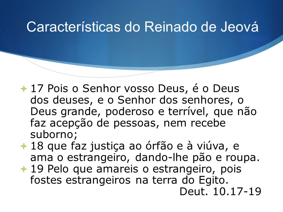 Características do Reinado de Jeová