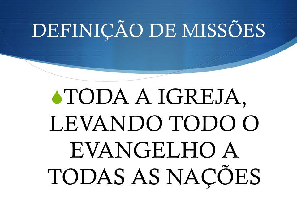 TODA A IGREJA, LEVANDO TODO O EVANGELHO A TODAS AS NAÇÕES