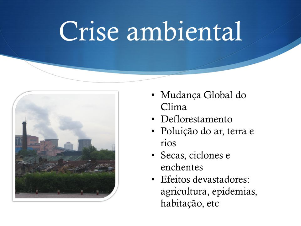 Crise ambiental Mudança Global do Clima Deflorestamento