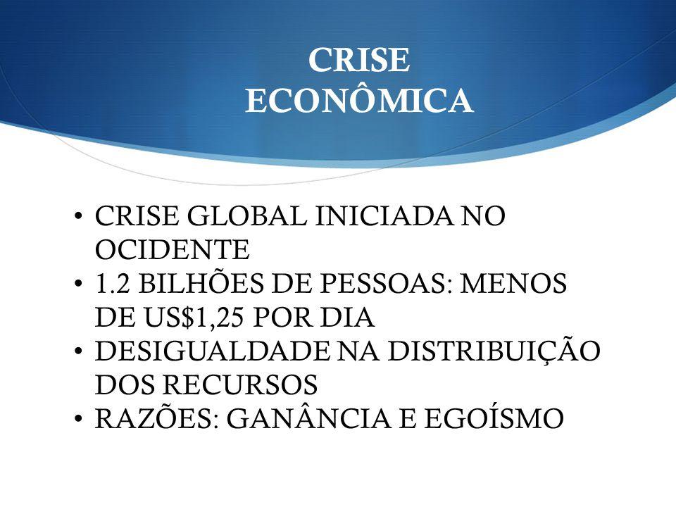 CRISE ECONÔMICA CRISE GLOBAL INICIADA NO OCIDENTE