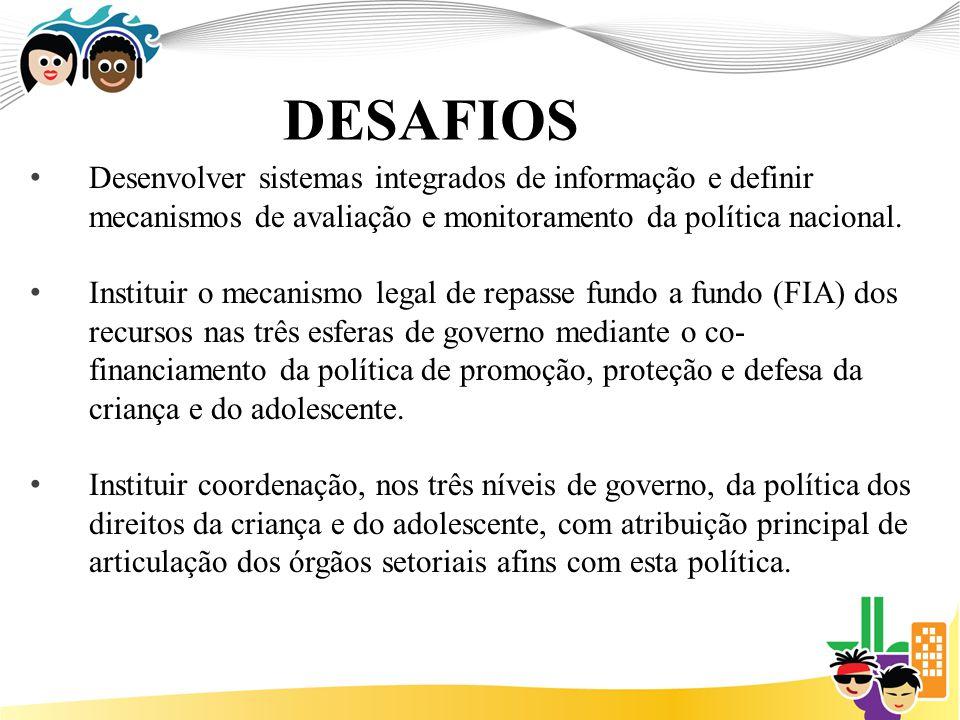DESAFIOS Desenvolver sistemas integrados de informação e definir mecanismos de avaliação e monitoramento da política nacional.