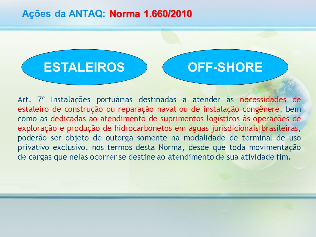 ESTALEIROS OFF-SHORE Ações da ANTAQ: Norma 1.660/2010