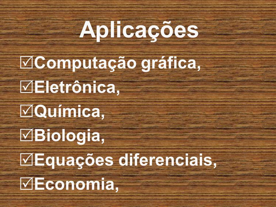 Aplicações Computação gráfica, Eletrônica, Química, Biologia,