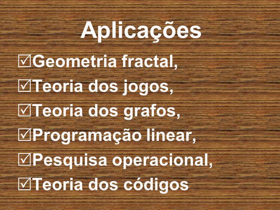 Aplicações Geometria fractal, Teoria dos jogos, Teoria dos grafos,