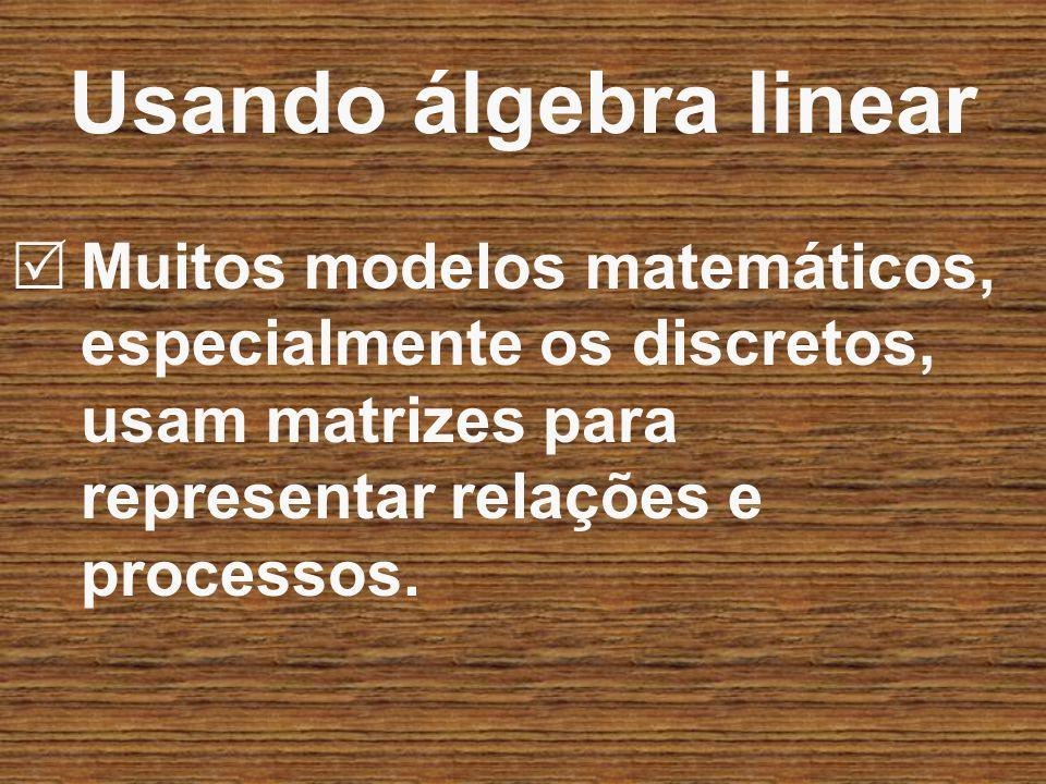 Usando álgebra linear Muitos modelos matemáticos, especialmente os discretos, usam matrizes para representar relações e processos.