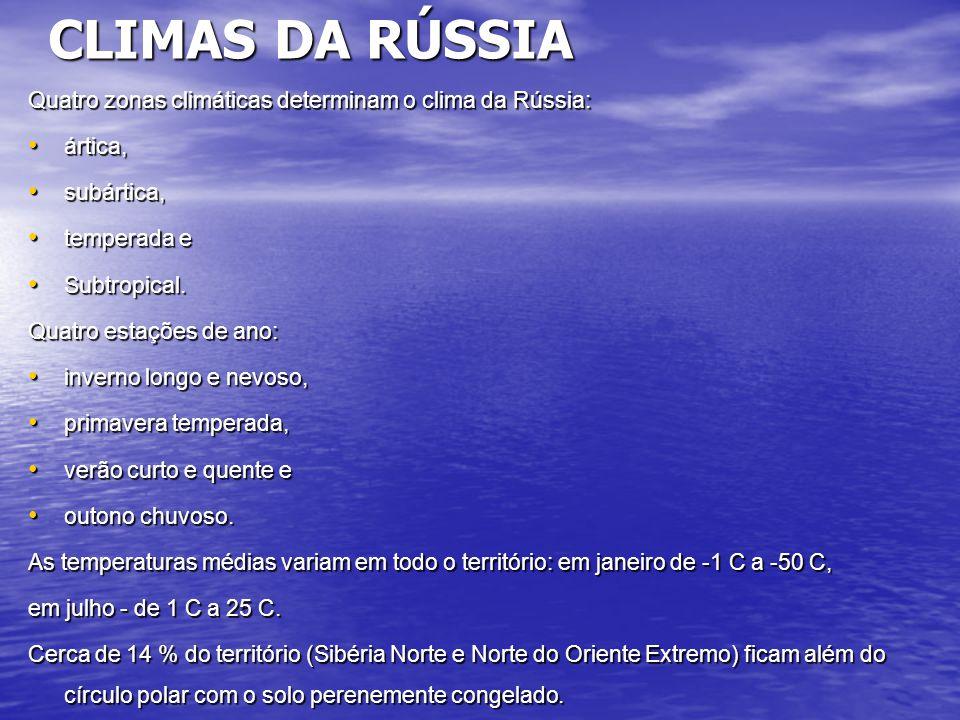 CLIMAS DA RÚSSIA Quatro zonas climáticas determinam o clima da Rússia: