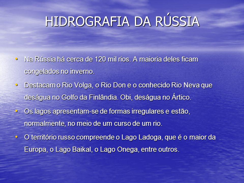 HIDROGRAFIA DA RÚSSIA Na Rússia há cerca de 120 mil rios. A maioria deles ficam congelados no inverno.