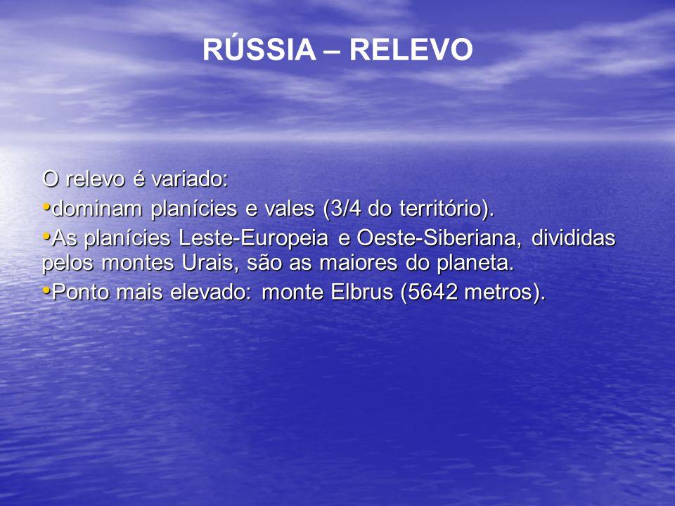 RÚSSIA – RELEVO O relevo é variado: