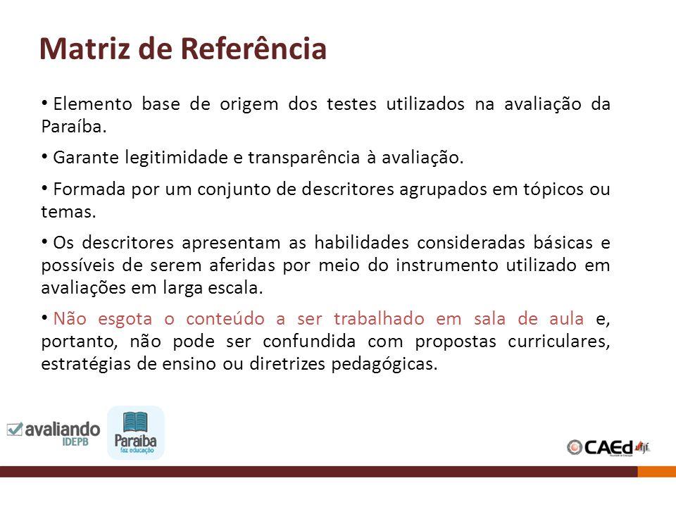Matriz de Referência Elemento base de origem dos testes utilizados na avaliação da Paraíba. Garante legitimidade e transparência à avaliação.