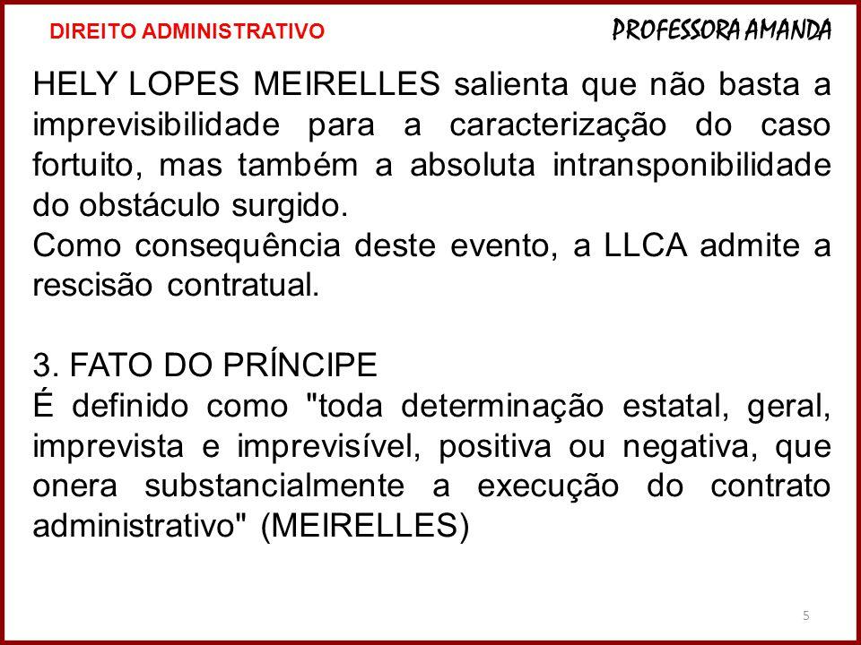 Como consequência deste evento, a LLCA admite a rescisão contratual.