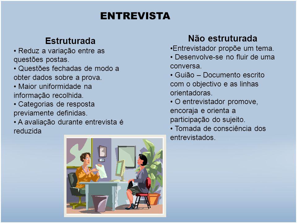 ENTREVISTA Não estruturada Estruturada Entrevistador propõe um tema.