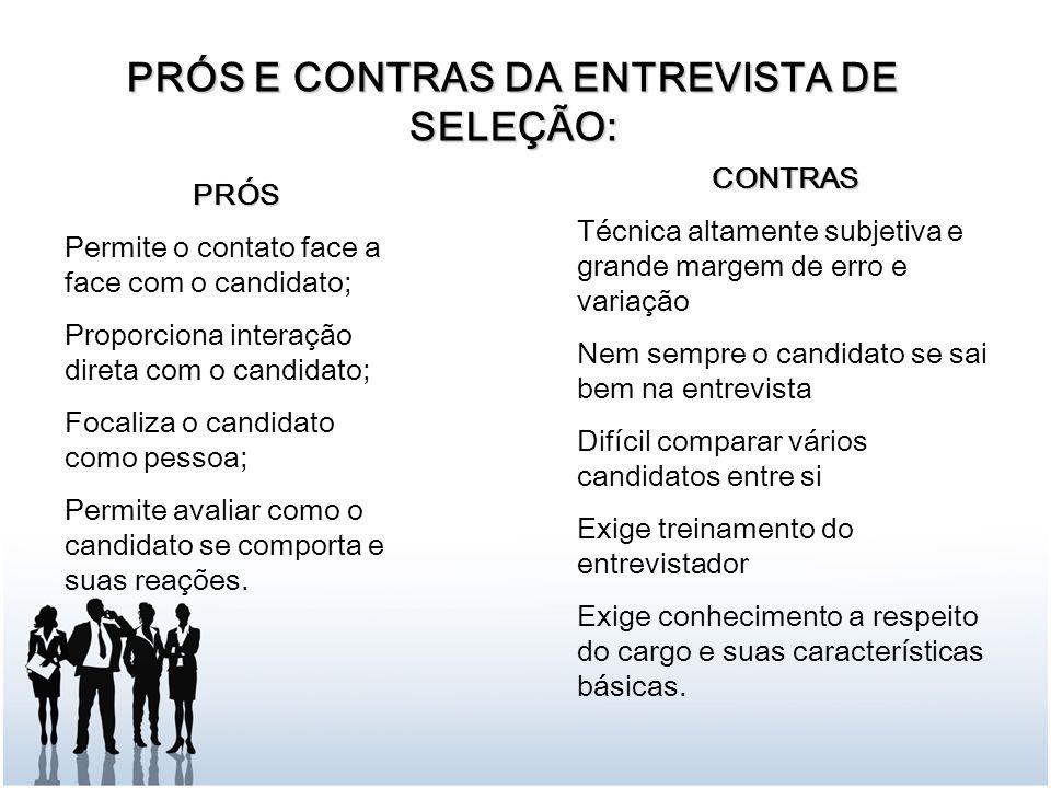 PRÓS E CONTRAS DA ENTREVISTA DE SELEÇÃO: