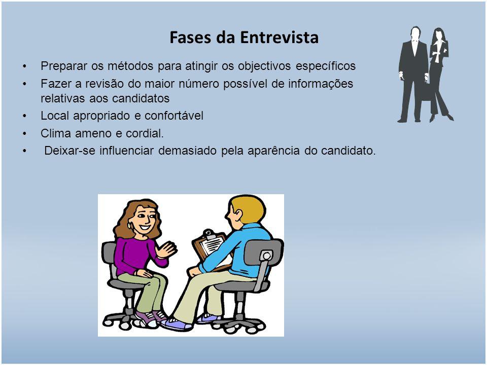 Fases da Entrevista Preparar os métodos para atingir os objectivos específicos.