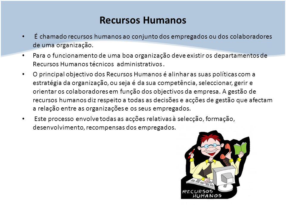 Recursos Humanos É chamado recursos humanos ao conjunto dos empregados ou dos colaboradores de uma organização.
