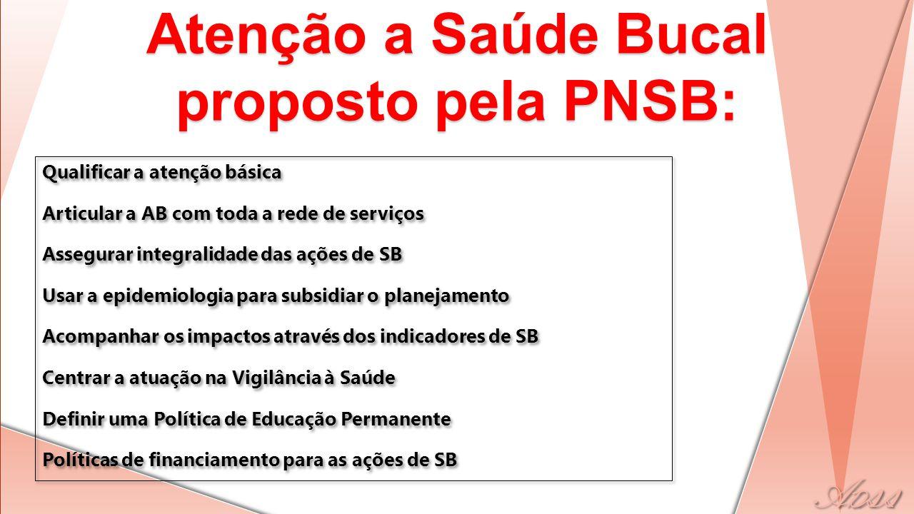 Reorientação do Modelo de Atenção a Saúde Bucal proposto pela PNSB: