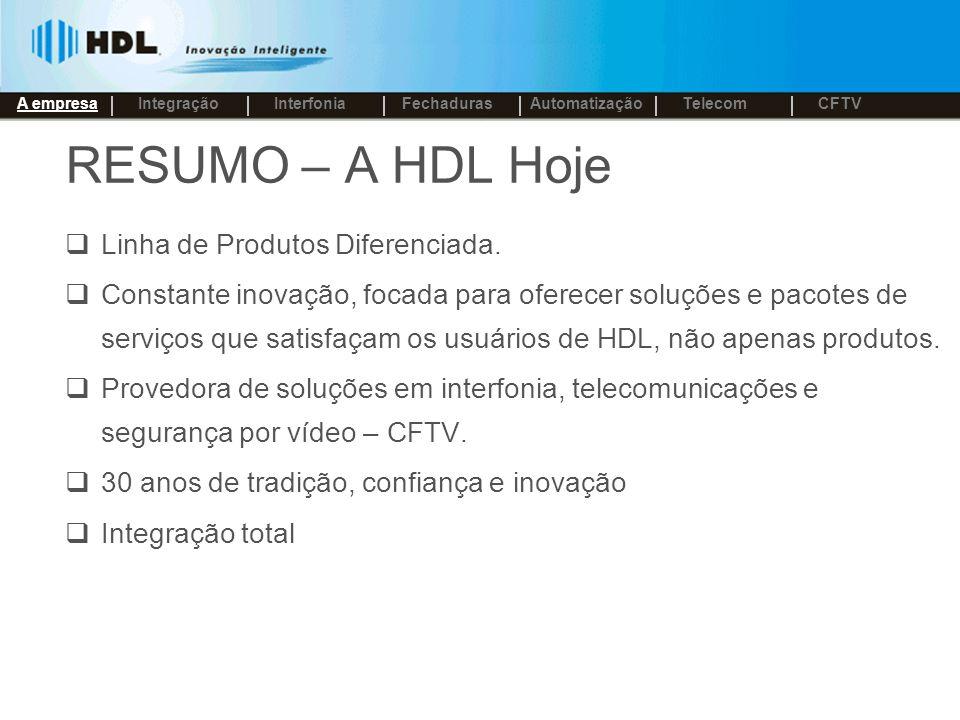 RESUMO – A HDL Hoje Linha de Produtos Diferenciada.