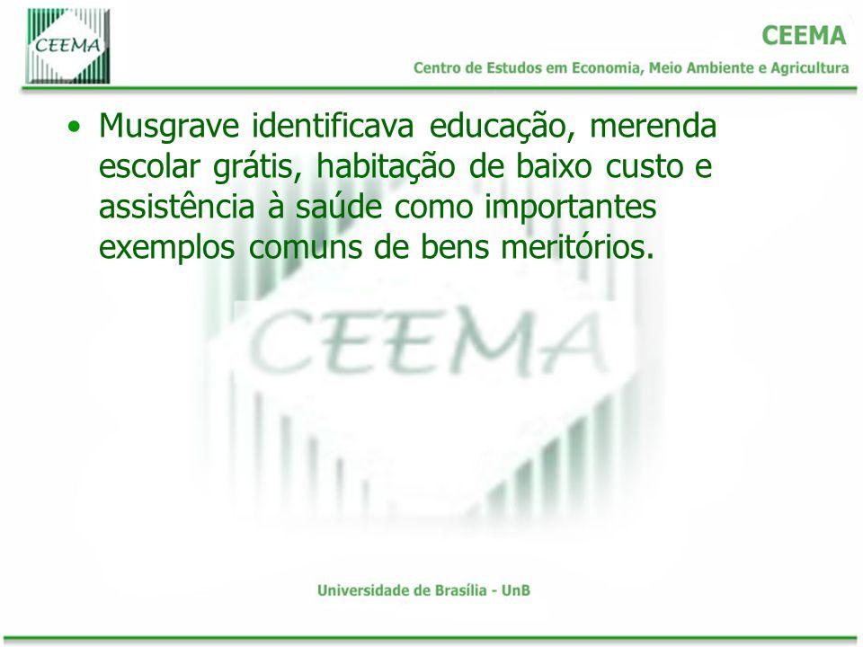 Musgrave identificava educação, merenda escolar grátis, habitação de baixo custo e assistência à saúde como importantes exemplos comuns de bens meritórios.