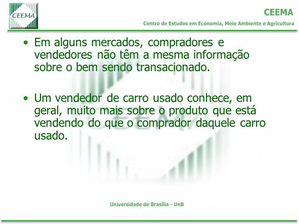 Em alguns mercados, compradores e vendedores não têm a mesma informação sobre o bem sendo transacionado.
