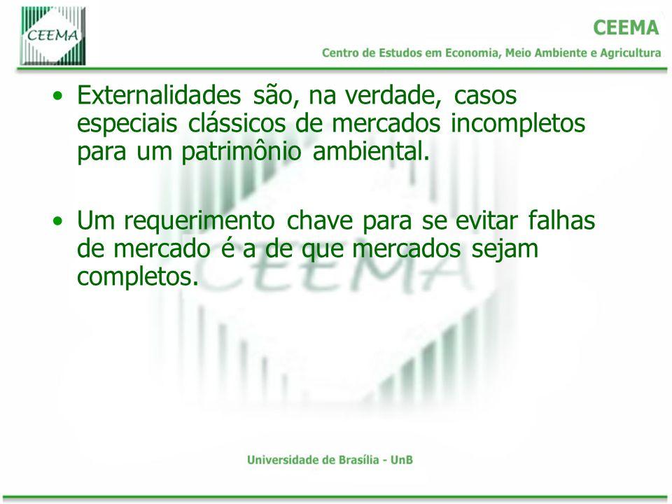 Externalidades são, na verdade, casos especiais clássicos de mercados incompletos para um patrimônio ambiental.
