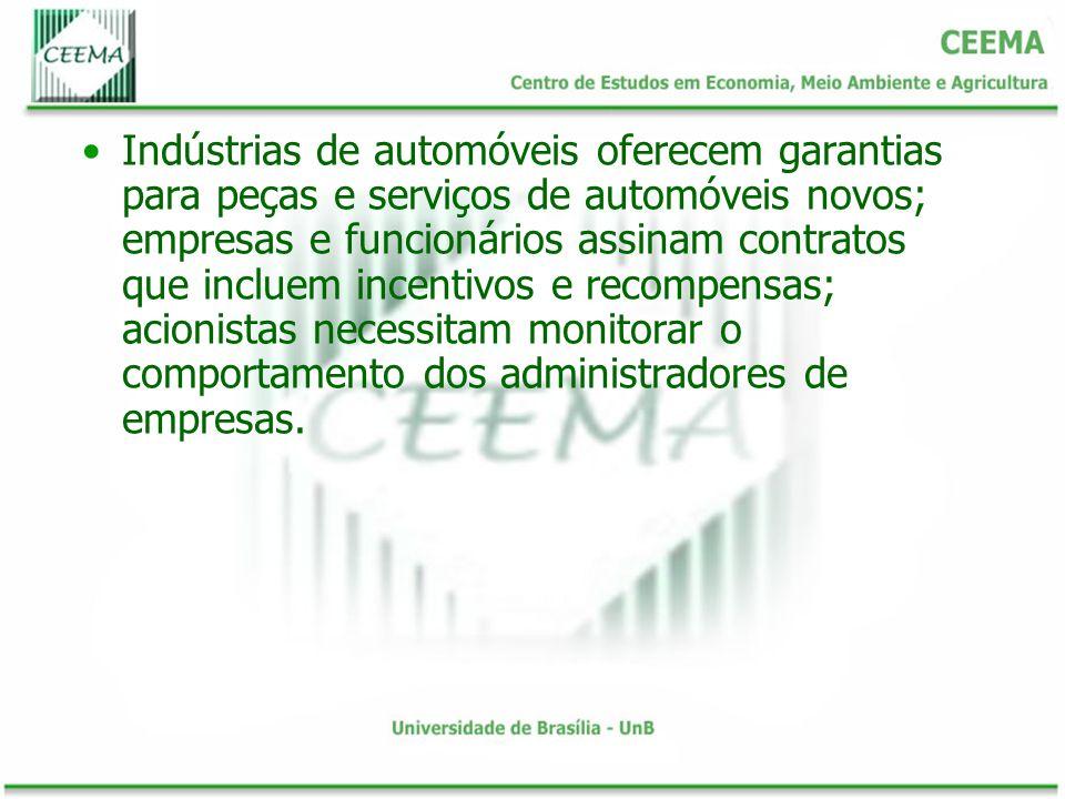 Indústrias de automóveis oferecem garantias para peças e serviços de automóveis novos; empresas e funcionários assinam contratos que incluem incentivos e recompensas; acionistas necessitam monitorar o comportamento dos administradores de empresas.