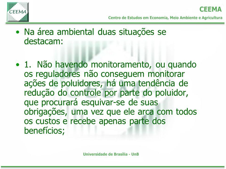 Na área ambiental duas situações se destacam: