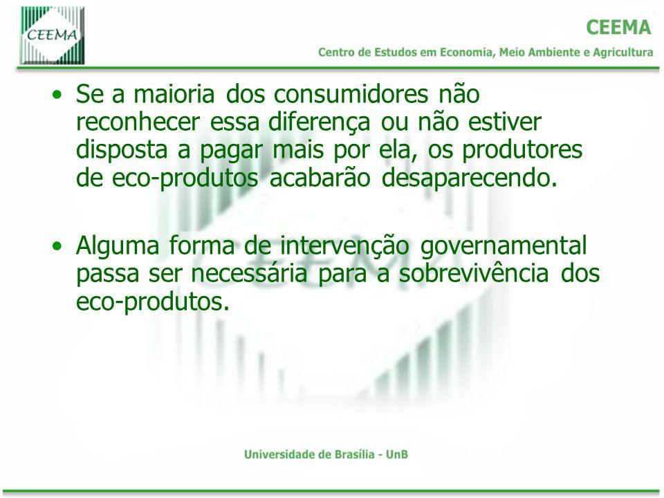 Se a maioria dos consumidores não reconhecer essa diferença ou não estiver disposta a pagar mais por ela, os produtores de eco-produtos acabarão desaparecendo.