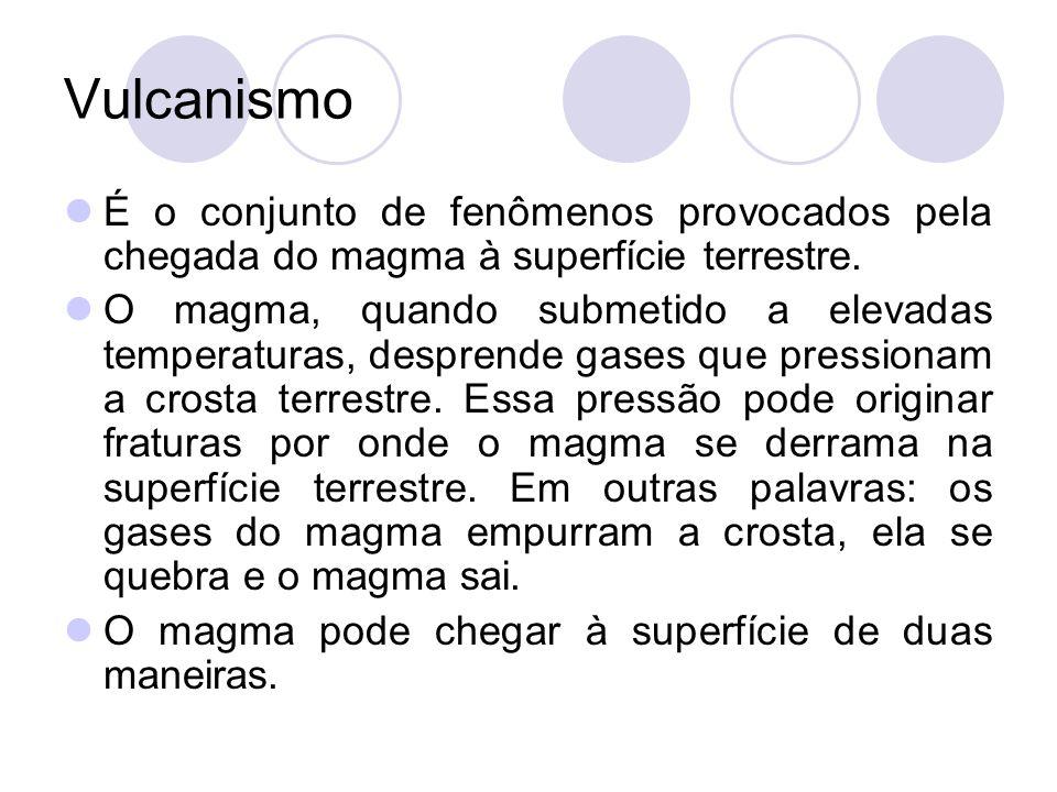 Vulcanismo É o conjunto de fenômenos provocados pela chegada do magma à superfície terrestre.