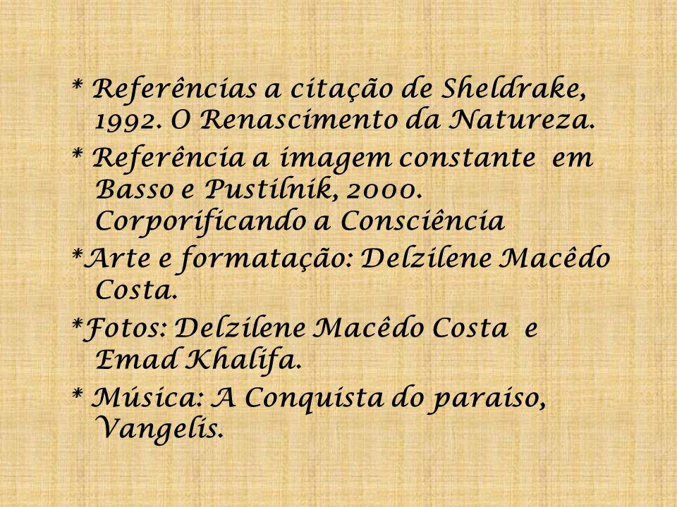 * Referências a citação de Sheldrake, 1992. O Renascimento da Natureza.