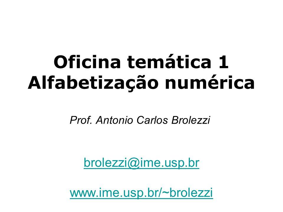 Oficina temática 1 Alfabetização numérica Prof