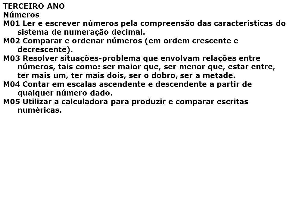 TERCEIRO ANO Números. M01 Ler e escrever números pela compreensão das características do sistema de numeração decimal.